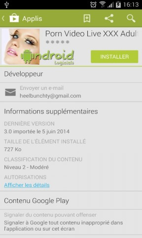 Signalement Google Play Store
