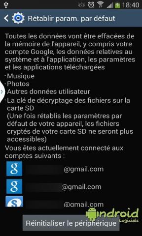 Réinitialiser un appareil mobile Android