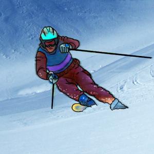 Skiez sur différentes pistes dessinées à la main, en modes Descente, Slalom, Challenge et Championnat.