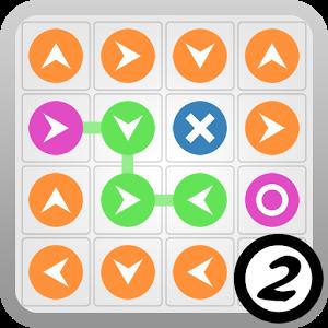"""Dans Flux 2, plusieurs défis vous seront proposés et vous devrez tenter de compléter des """"flux"""" en orientant convenablement certains blocs tout en prenant garde à ne pas vous faire bloquer par d'autre. 5 tailles de grilles sont disponibles, augmentant considérablement la difficulté."""