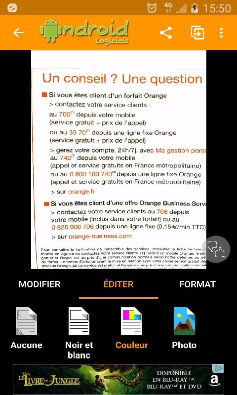 application pour scanner un document