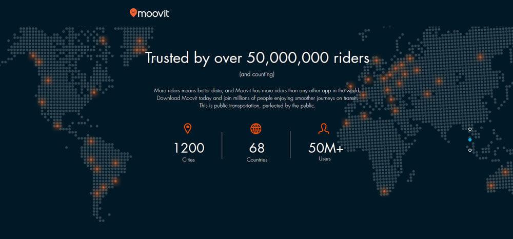 Moovit franchit la barre des 50 millions d'utilisateurs à travers le monde