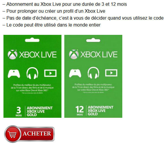 Cartes Xbox Live