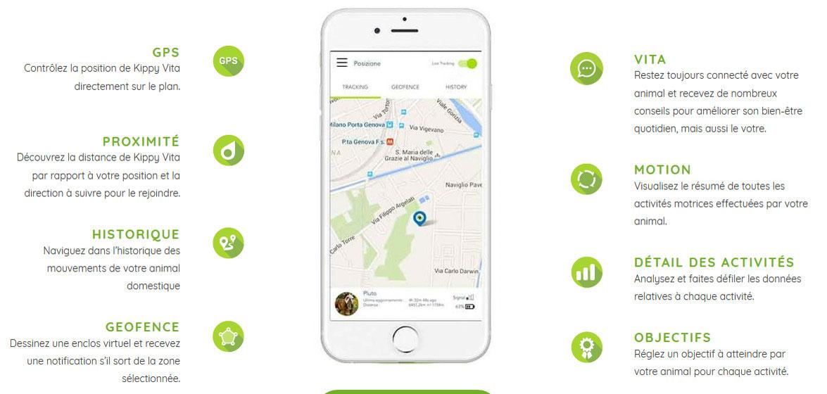 Kippy – Traceur GPS pour chiens et chats avec suivi d'activités
