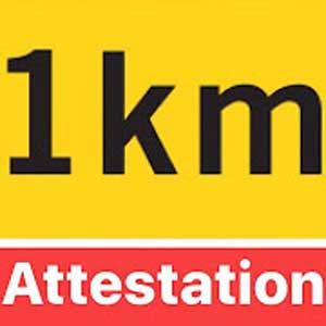 Attestation Numérique + 1km (vol d'oiseau)